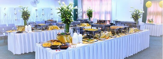 Kate's Buffet Table with White Cloth